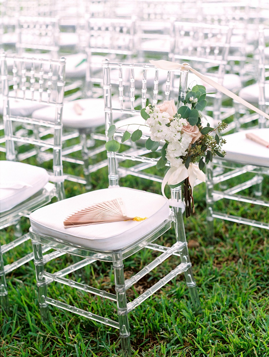Clear ceremony chair with fans