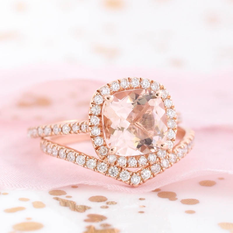 Shop beautiful morganite bridal sets like this from La More Design ~
