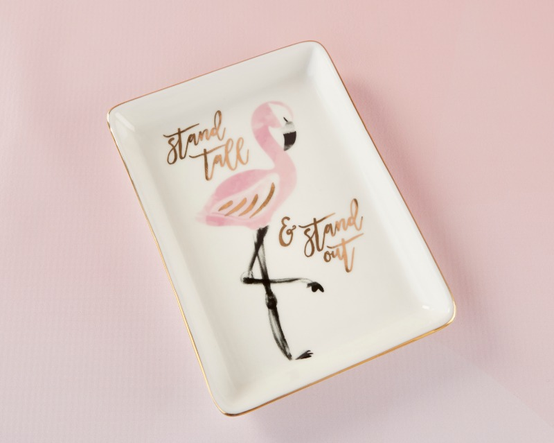 "With the inspirational phrase ""Stand Tall & Stand Out"" written on them, our Flamingo Trinket Dishes are a sweet favor idea"