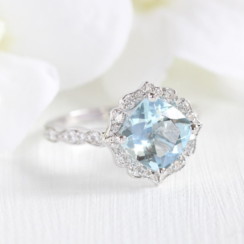 Two weeks away from March! Get your favorite March baby her birthstone Aquamarine in a gorgeous and unique vintage floral scalloped