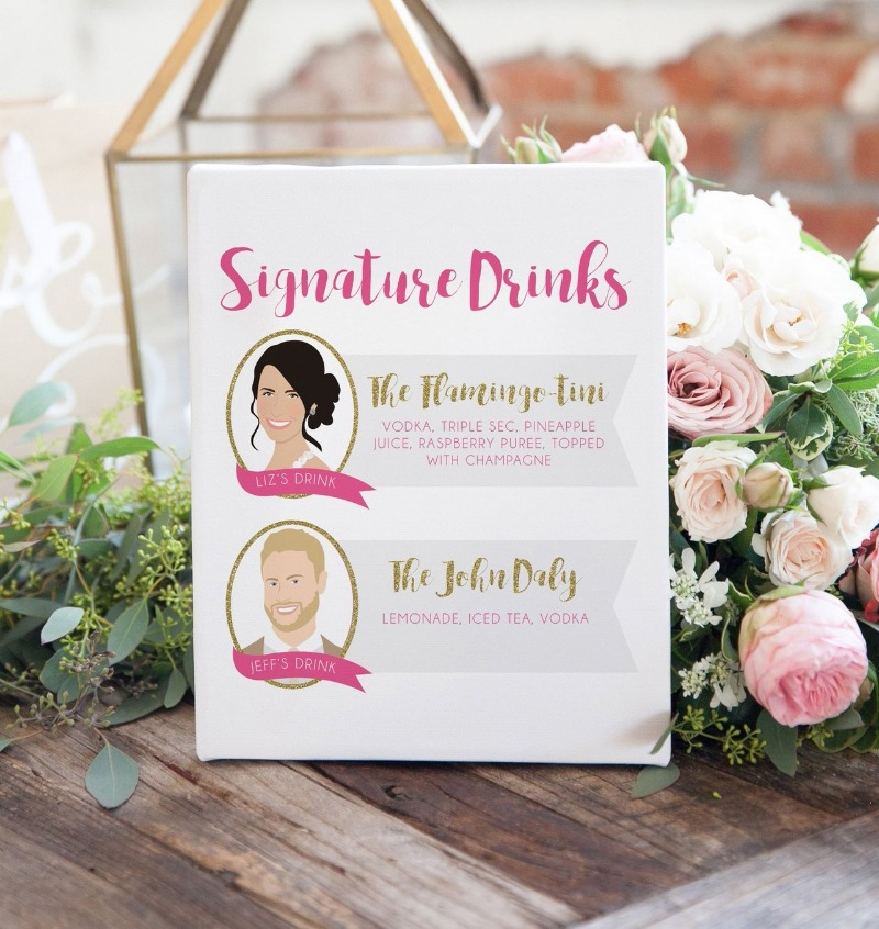 Custom signature drink sign with portraits of the bride and groom :) A really fun special touch for your wedding bar, an an awesome