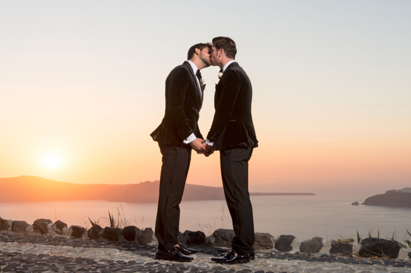Two grooms at the absolute glamorous destination wedding!