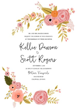 Botanical Free Printable Wedding Invitation Suite