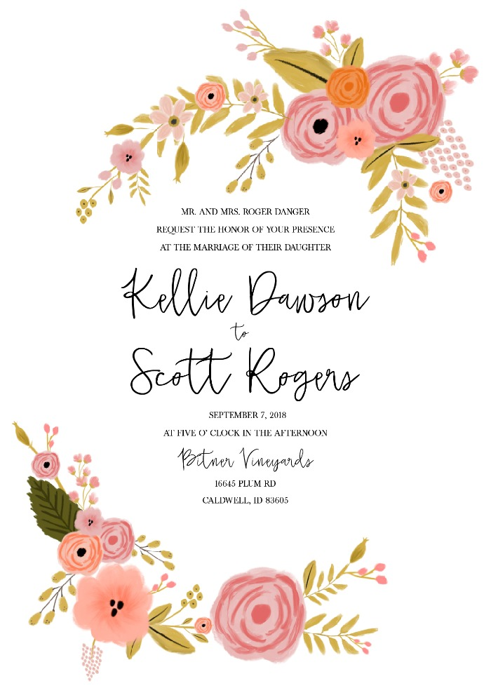 Print: Romantic Botanical Free Printable Wedding Invitation Suite