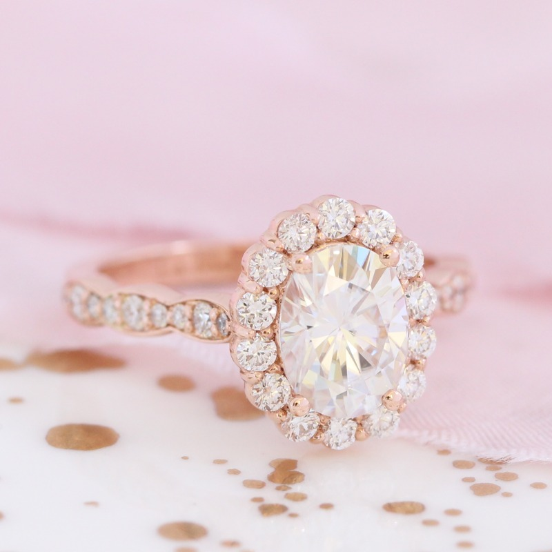 For the woman who loves halo engagement rings with a touch of unique style ~ By La More Design