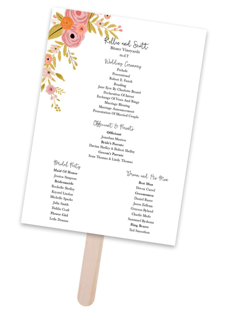 DIY wedding fans with free editable program