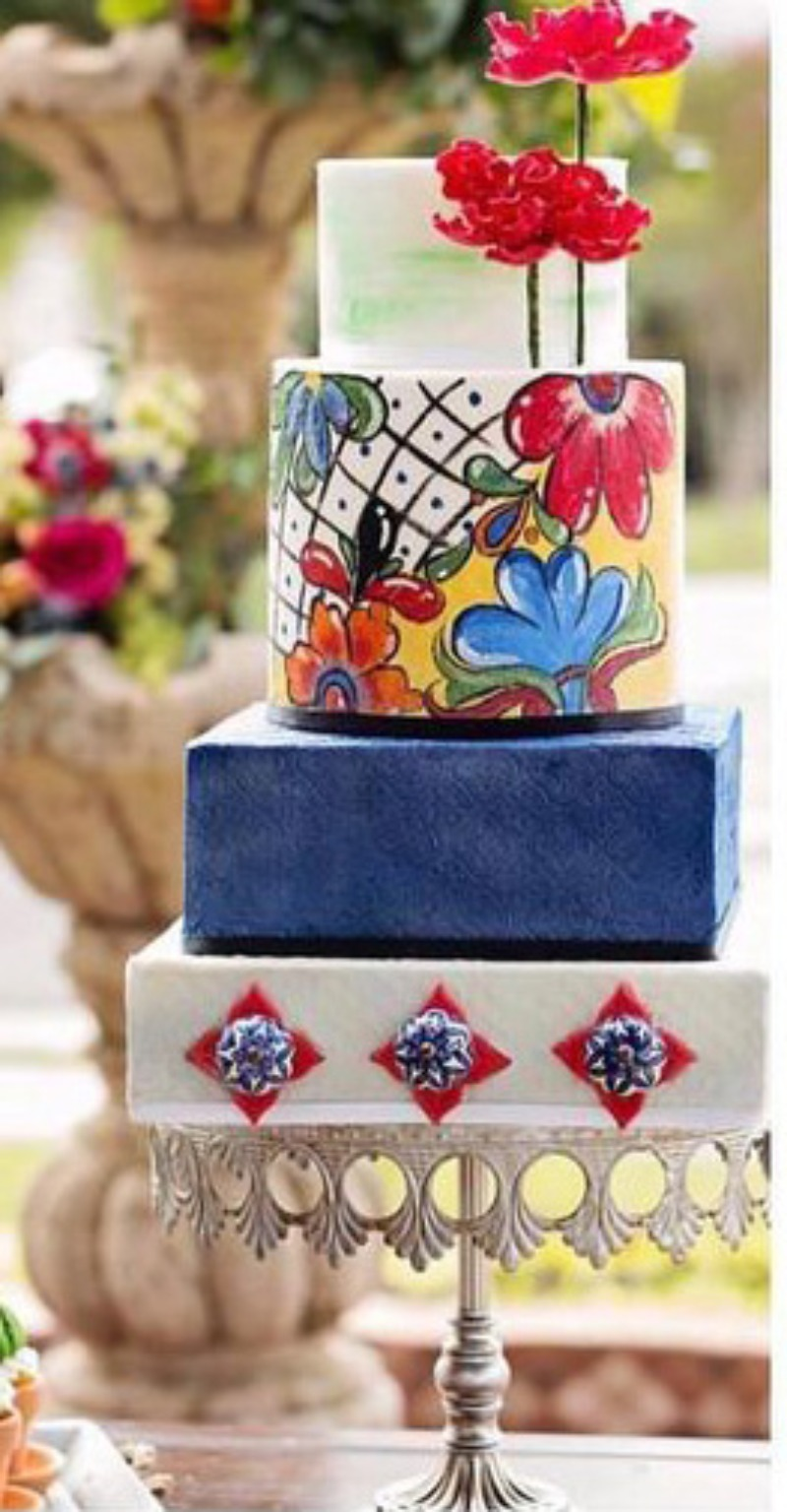 Bright, Bold & Beautifully Unique Wedding Cake on Opulent Treasures Antique Silver Crown Cake Stand