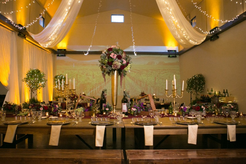 #Bakers Ranch .. Amazing #Tuscan wine themed #weddingreception! The huge farm table in the middle was the centerpiece of the room