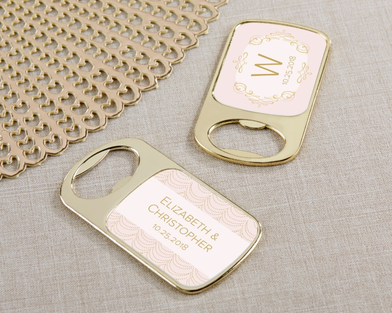 This Personalized Gold Bottle Opener features a personalized Modern Romance theme on a wedding favor your guests will love. The Modern