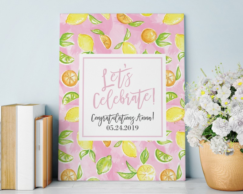 Perfect for bridal shower or even wedding decor, Kate Aspen's Cheery and Chic Personalized Poster features a sweet arrangement of various