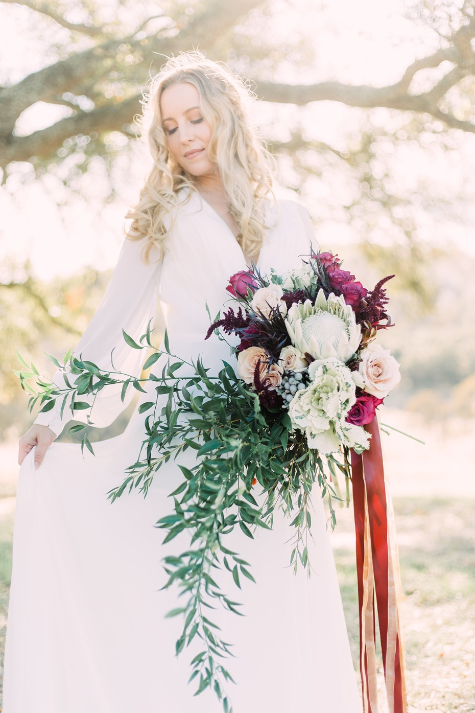 Asymmetrical bouquet with ribbons