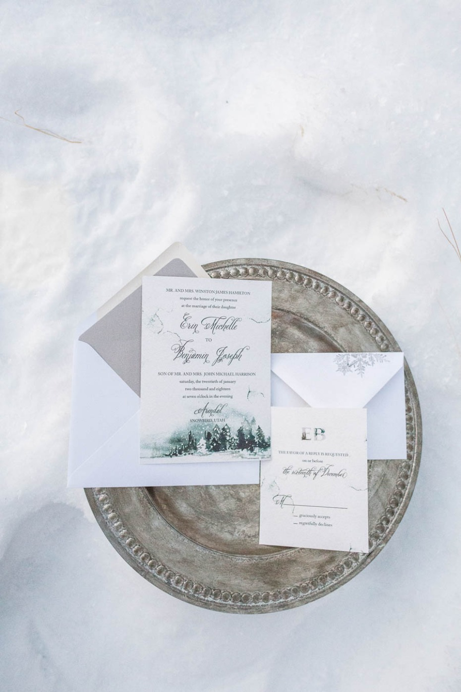 winter inspired wedding invitation suite