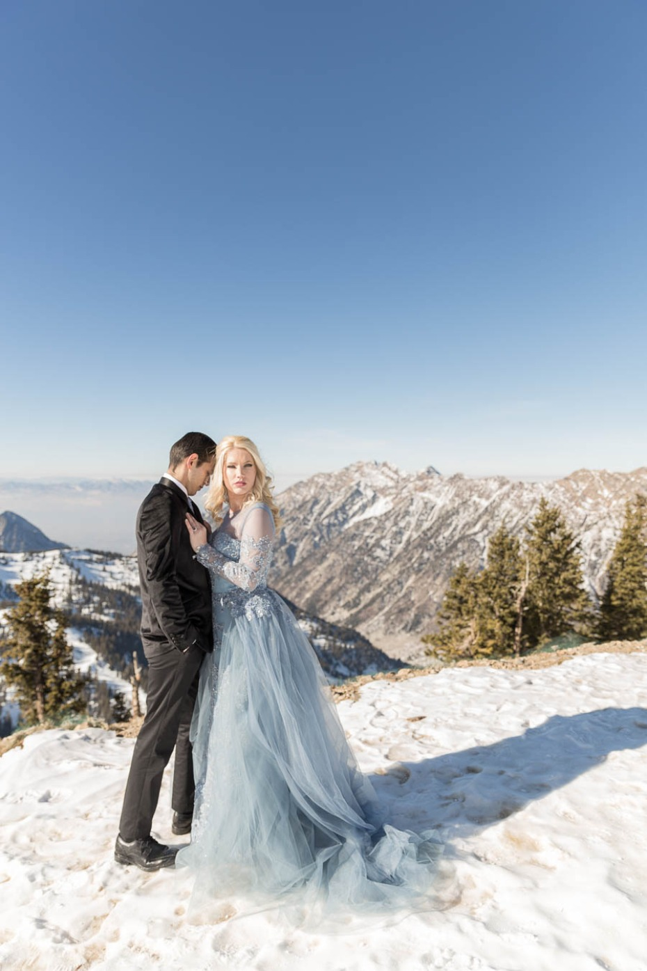 blue wedding dress for your winter wedding