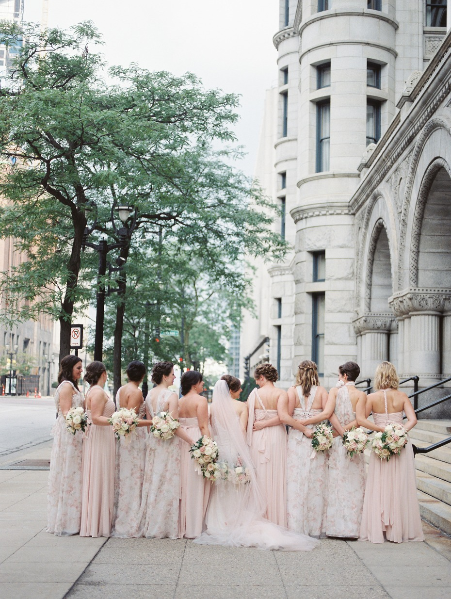 Mix and match blush and floral bridesmaid dresses