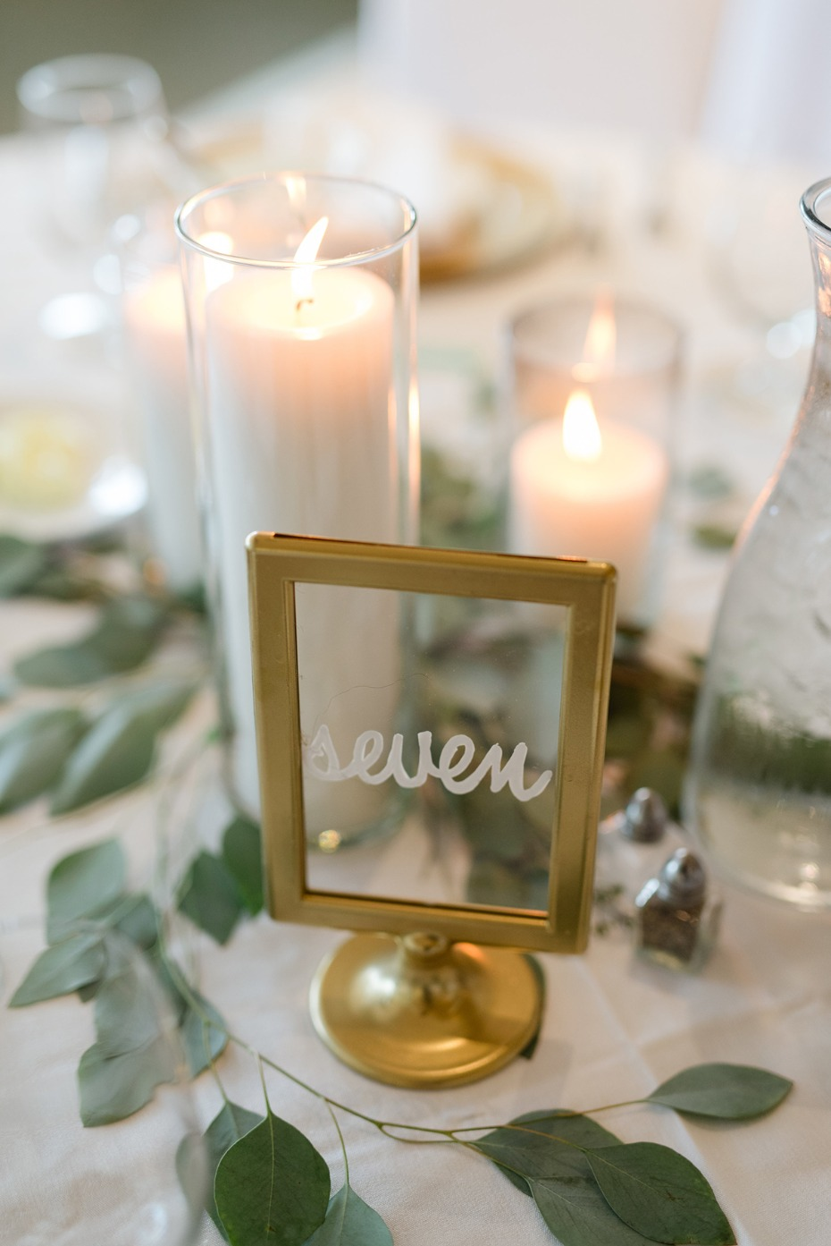 gold framed clear table number