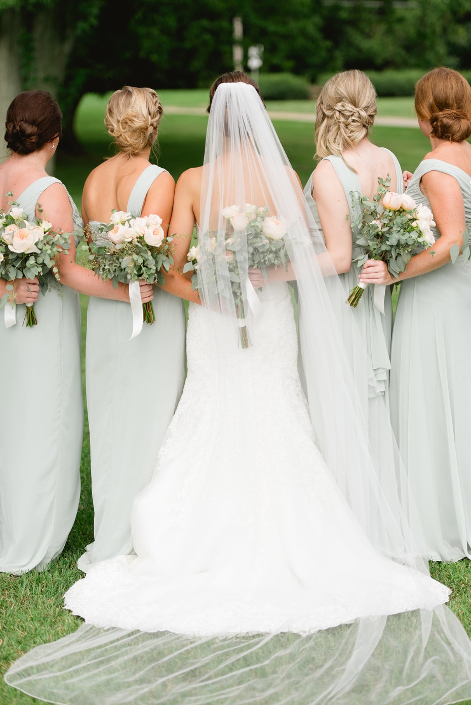 bridal party in soft mint
