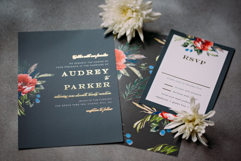 A stunning wedding invitation perfect for a glamorous bride. Customize this look in any color with your names and details foiled to