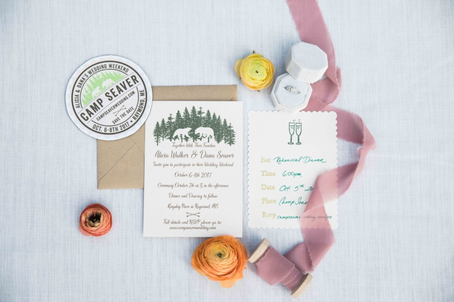 wedding invitations for your rustic summer camp wedding