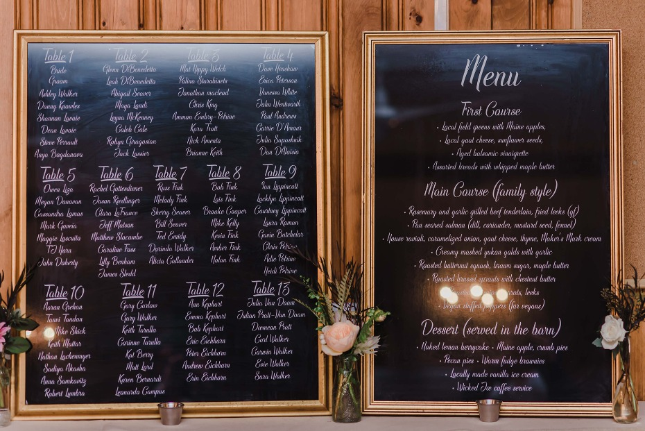 wedding menu and table assignments