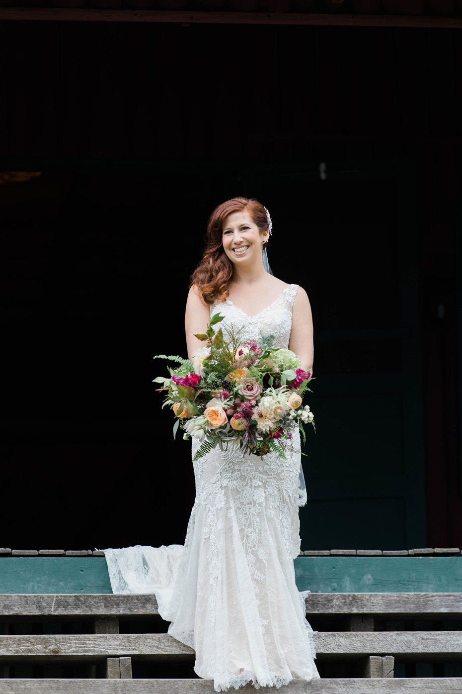 bride in BHLDN wedding gown