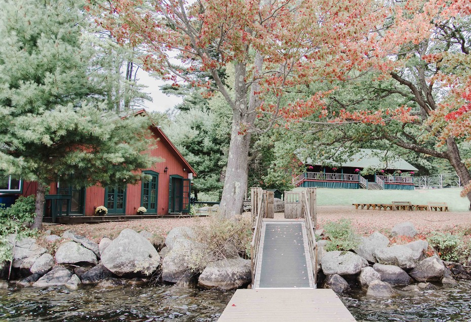 fall wedding at a summer camp