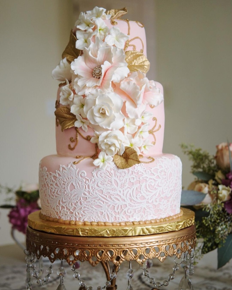 Pretty Pink Sugary Details on Antique Gold Chandelier Wedding Cake Stand