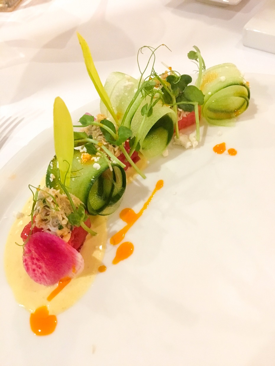the plating of this crab and cucumber salad was amazing!