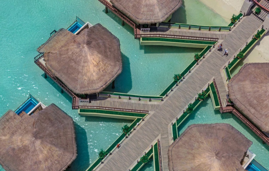 Over water bungalows in Plya del Carmen