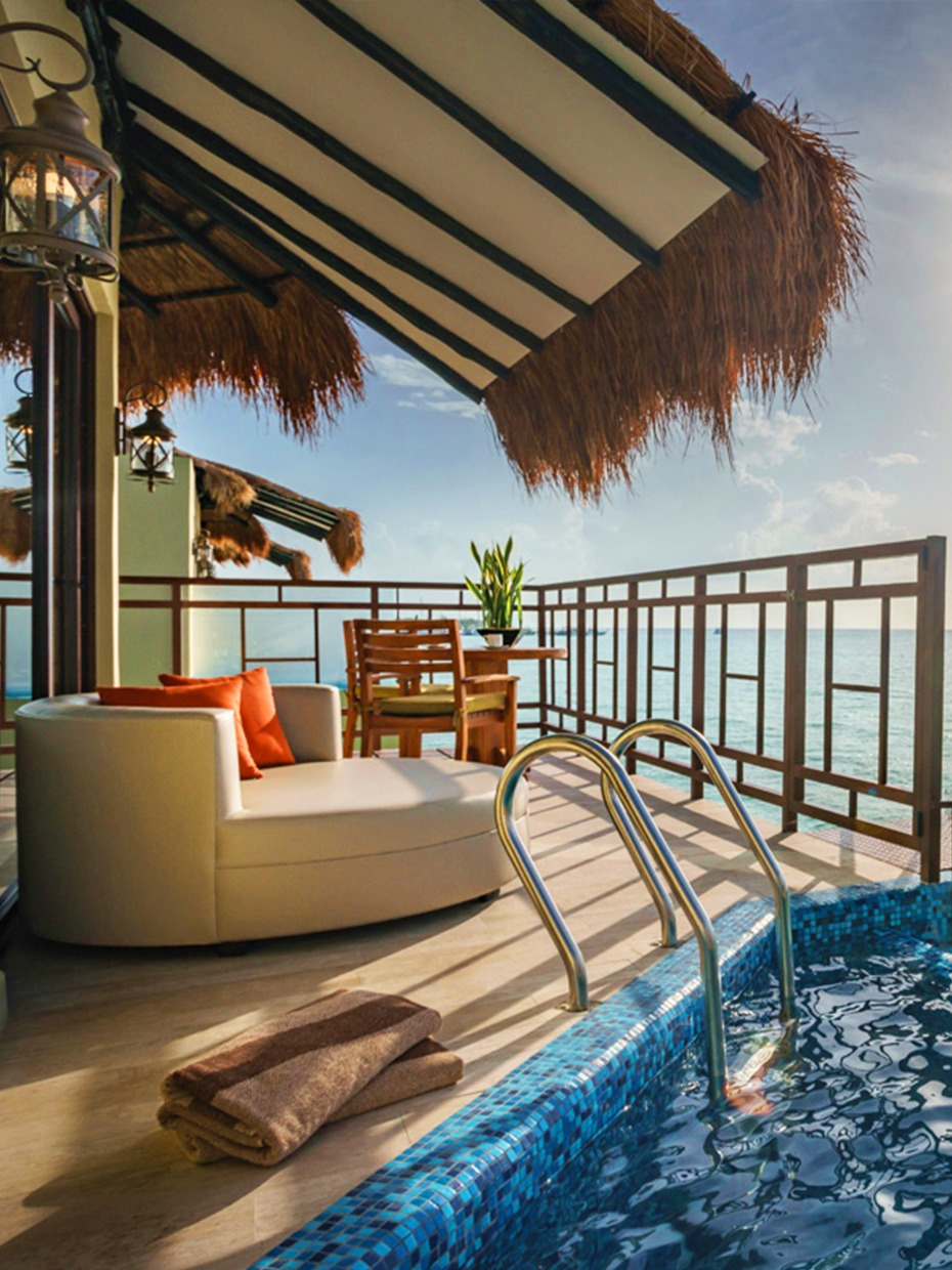 Each Palafito has its own pool patio and private pier
