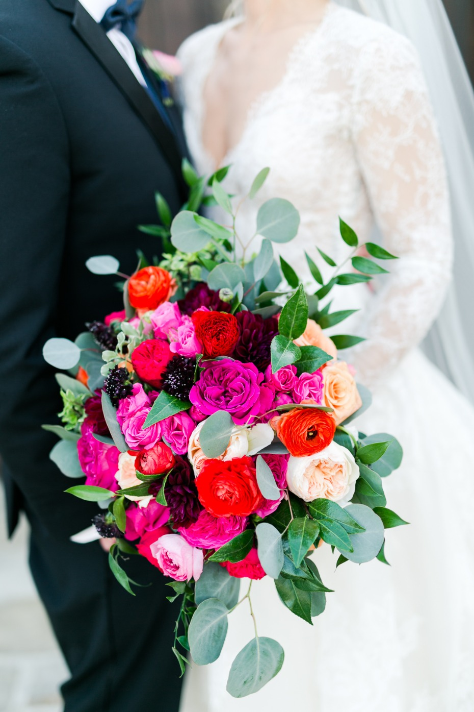 hot pink spring time wedding bouquet