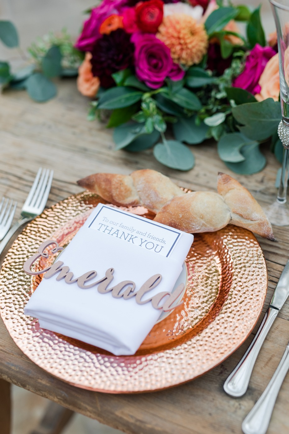 rose gold charger and laser cut place card