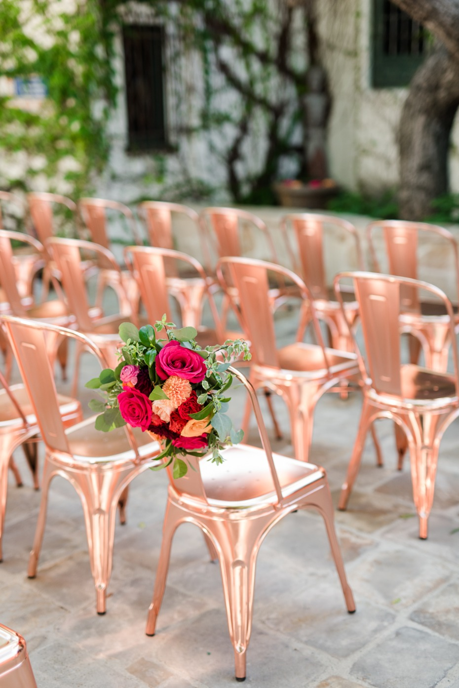 rose gold wedding seating