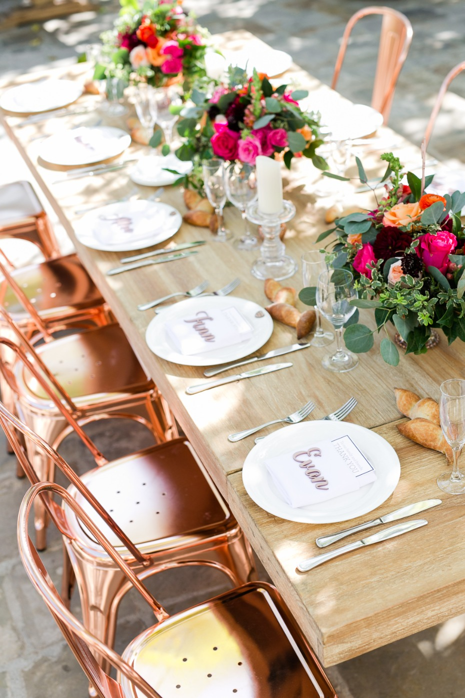 modern boho chic rose gold outdoor wedding table decor