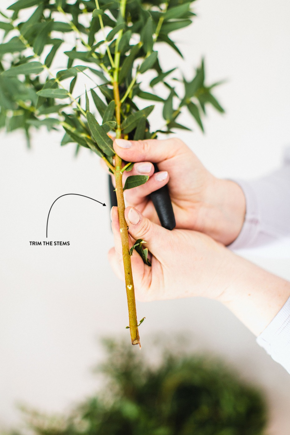 trim the bottom of the leaves before inserting them into the floral cages