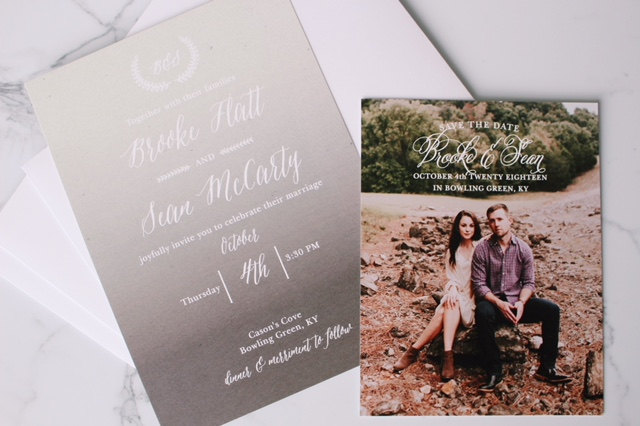 Matching your wedding invitations with a photo save the date of the same style is a great way to incorporate engagement photos into