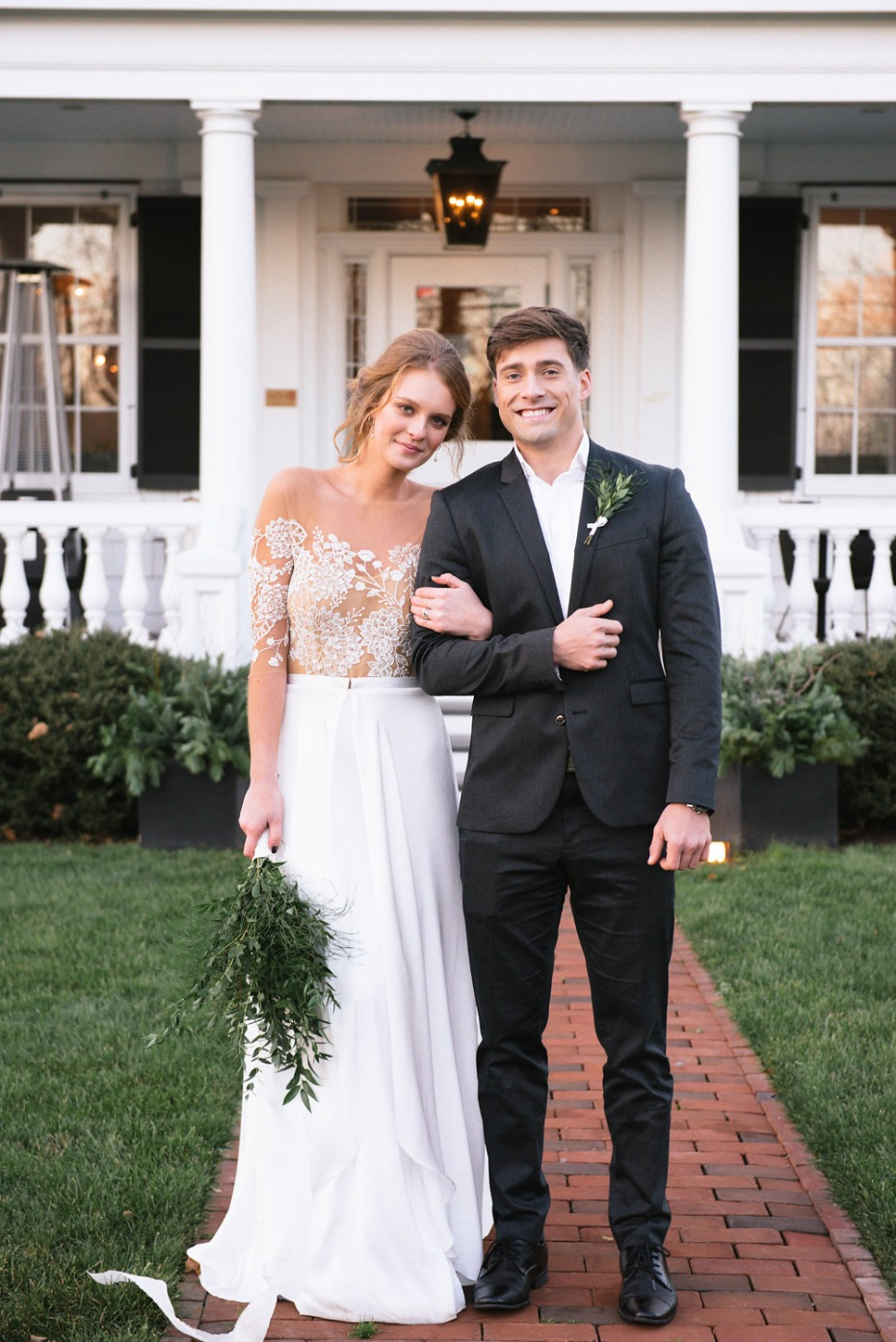 bride and groom style for semi formal garden wedding