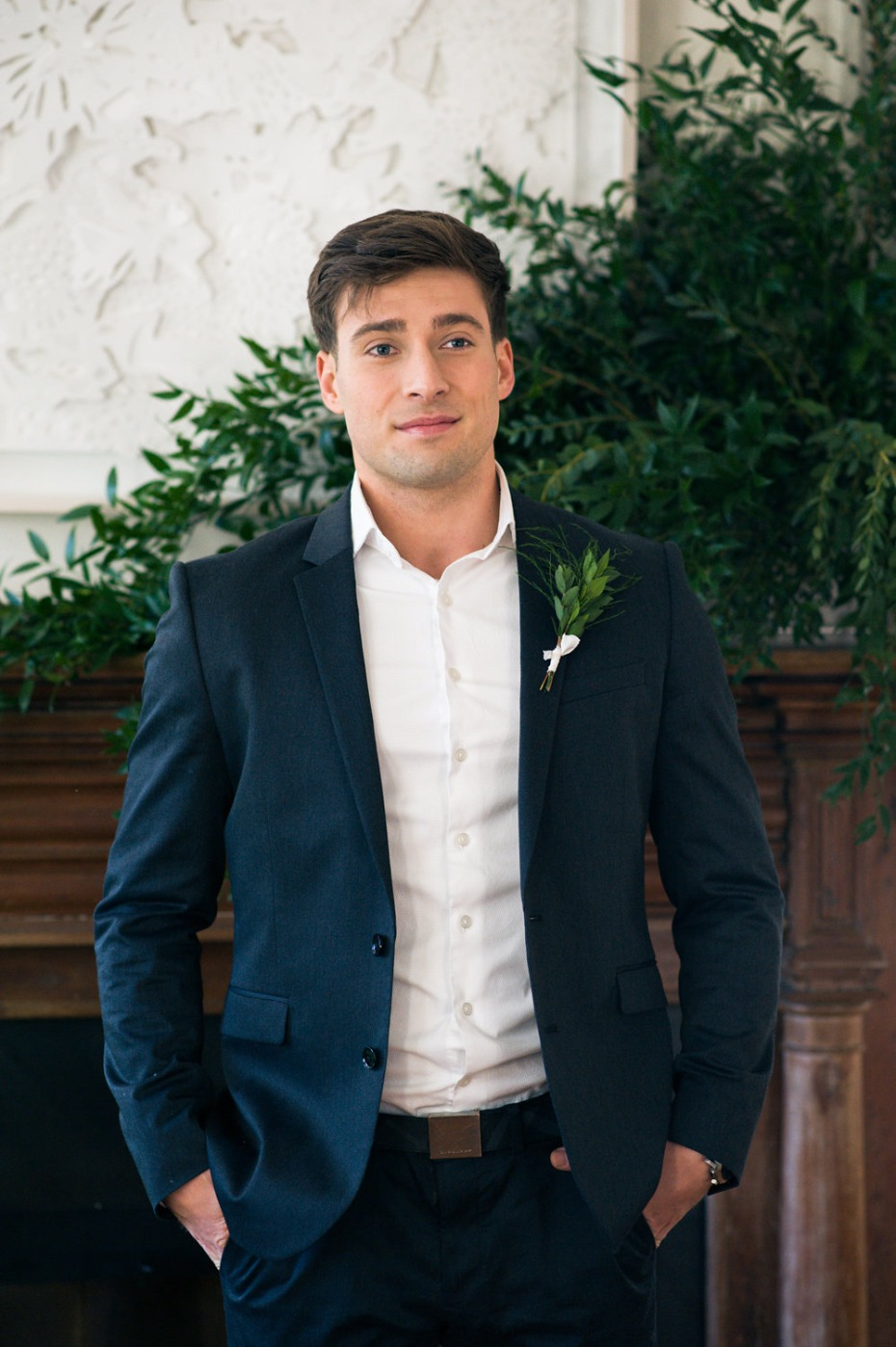 semi formal groom style with relaxed button down and navy suit