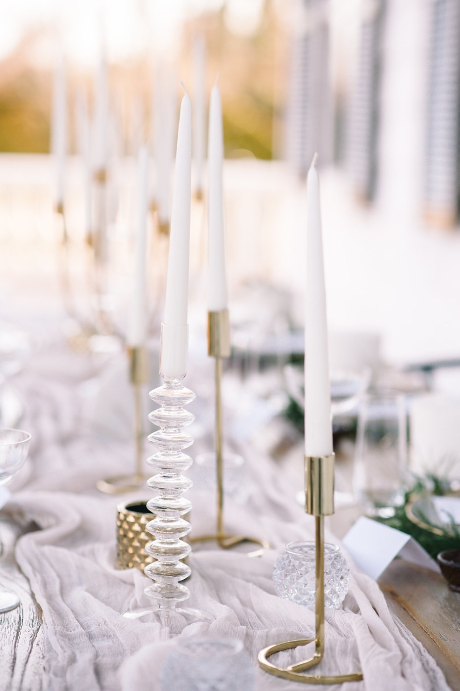 mismatched candle centerpiece