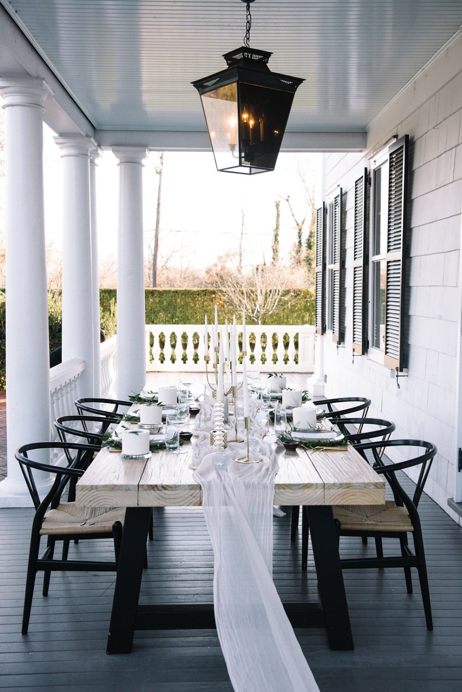 simple and minimalist porch wedding reception table
