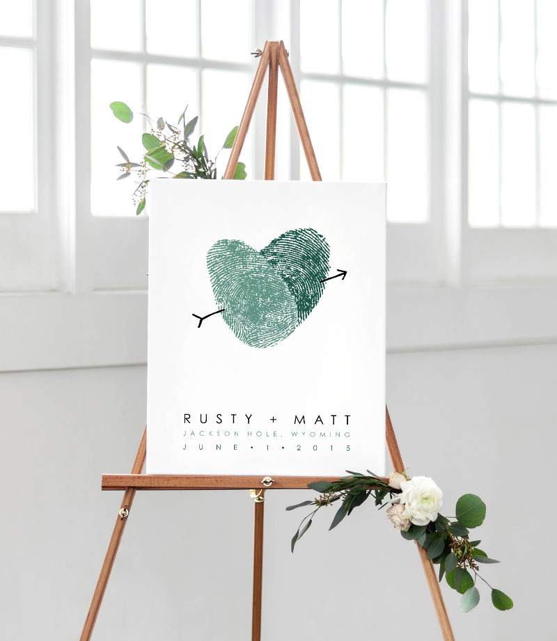 Custom artwork made with your fingerprints! Use as a guest book alternative poster - guests sign the poster for a lovely keepsake.