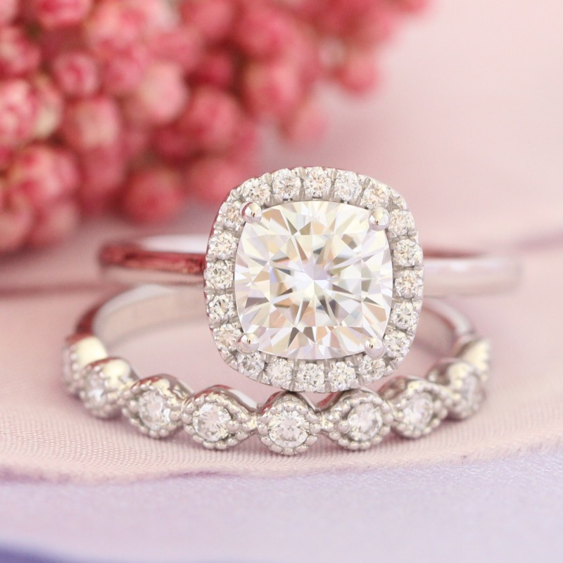 Dainty and elegant ~ Forever One Moissanite engagement ring and milgrain diamond wedding band bridal set by La More Design