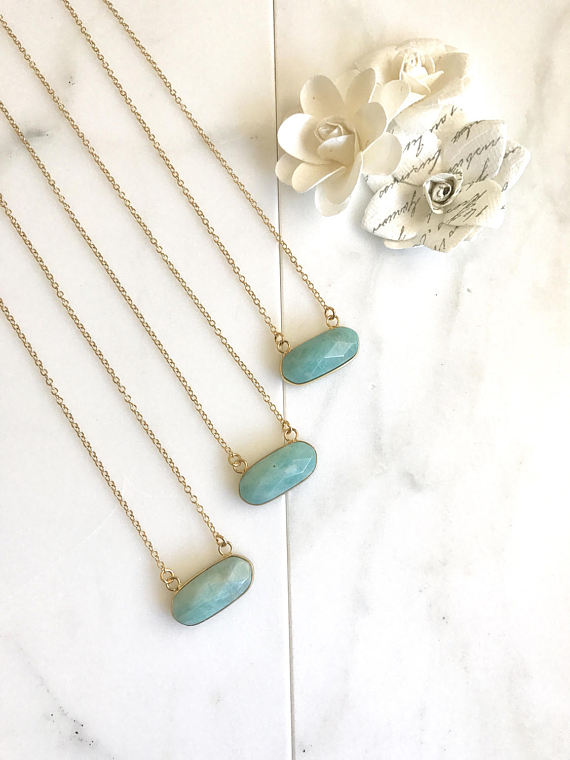 Small Amazonite Bar Necklace. Everyday Gold Bar Pendant Necklace. Dainty Gold Bar Necklace. Gift. Layering Necklace. Amazonite Necklace