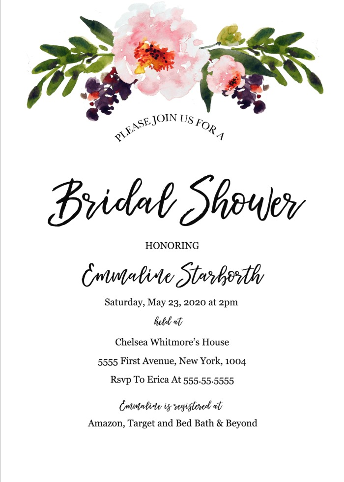 Print: Free Wedding Shower Invitation Template