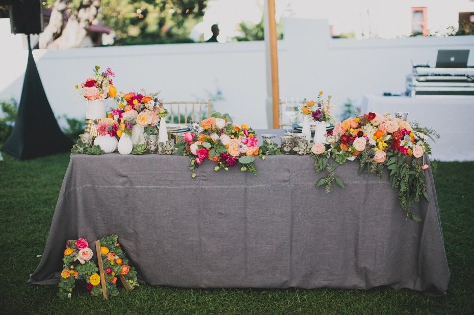 modern garden wedding reception sweetheart table