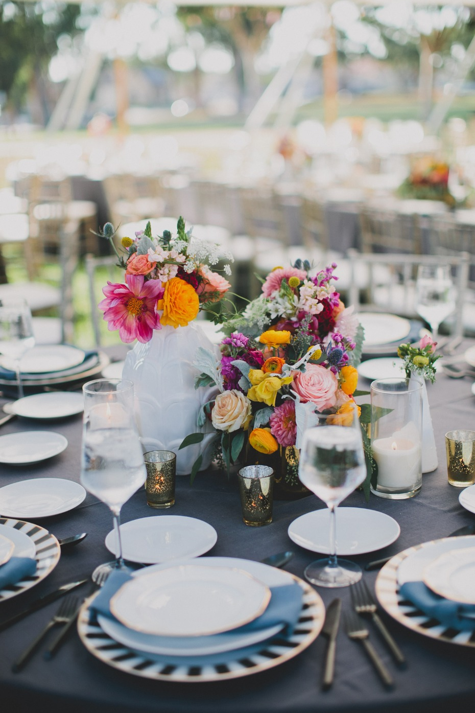 modern chic table decor for your garden party reception