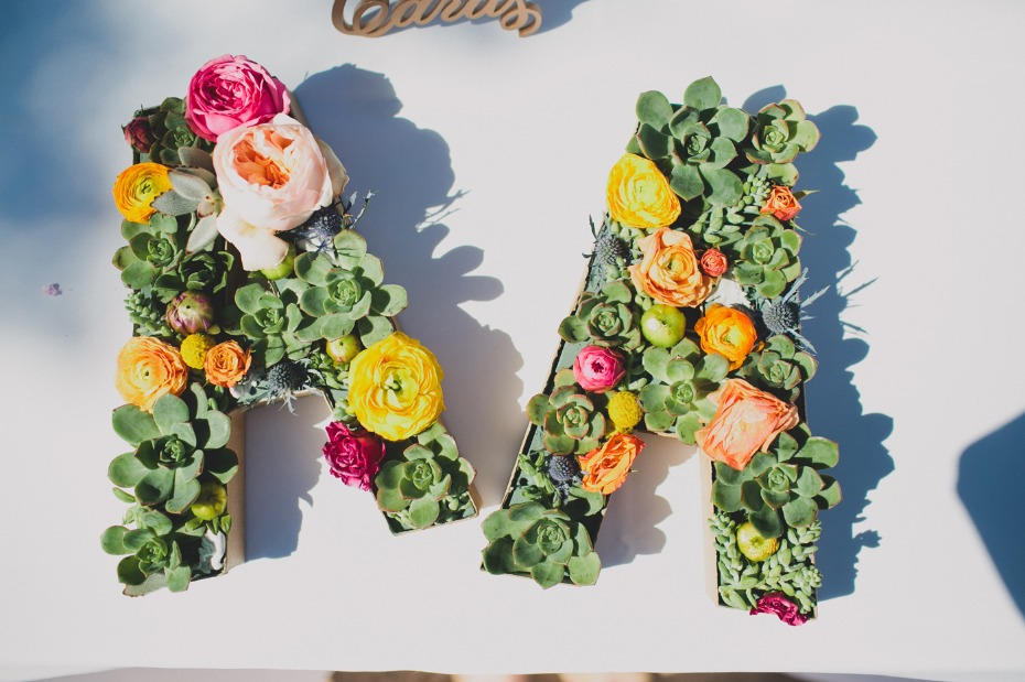 succulent and floral wedding initials
