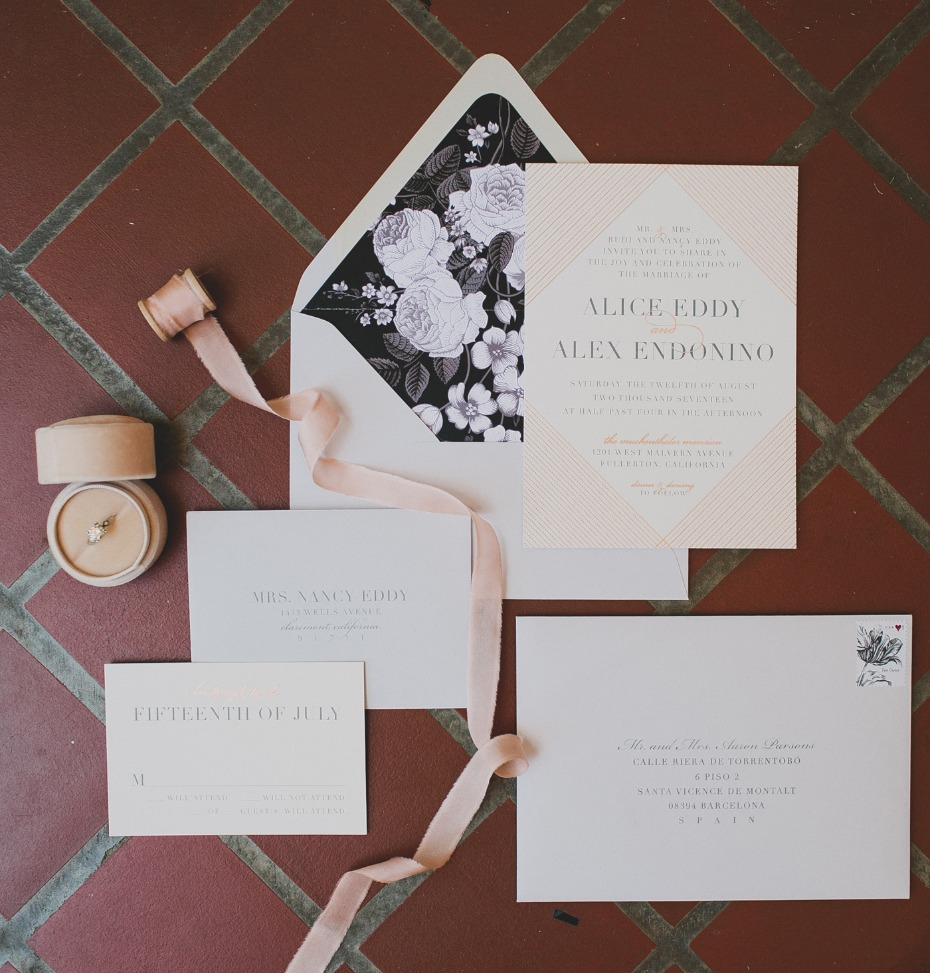 modern chic garden party wedding invitations