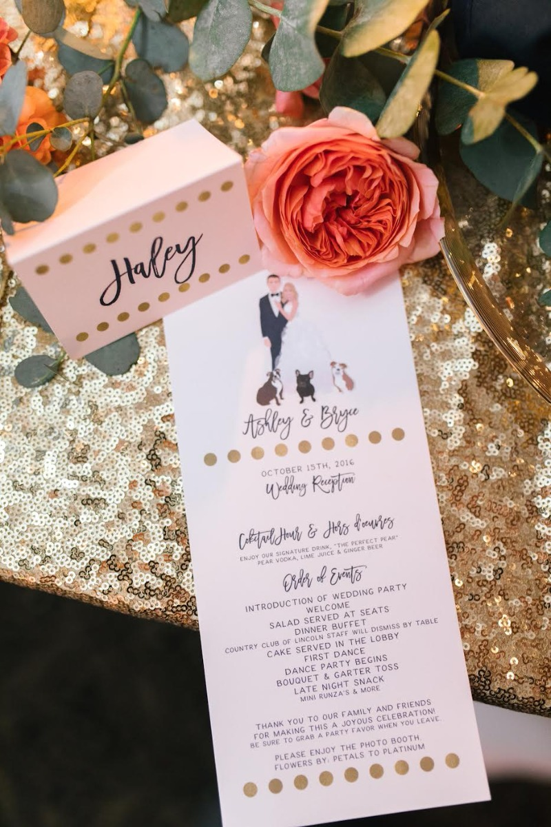 Custom portrait menu and place cards from Miss Design Berry! Contact us to start designing your dream wedding table scape :)