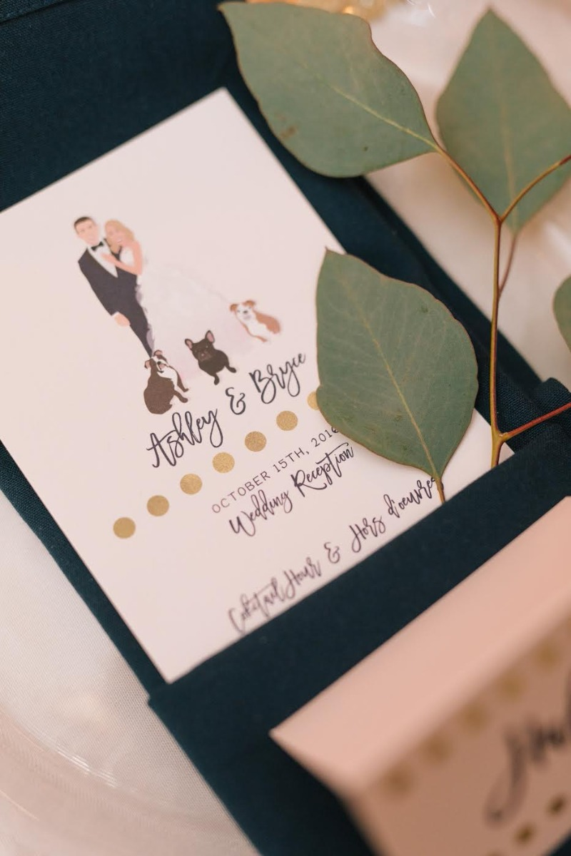Perfect details like this custom portrait menu will take your wedding day from standard to spectacular! Only from Miss Design Berry