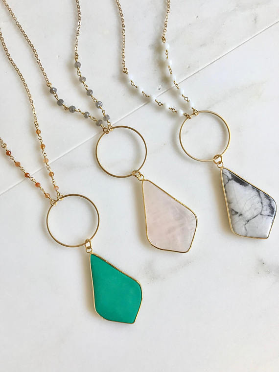 Long Boho Kite Stone Necklace in Green, Rose Quartz, Marble and Gold. Long Boho Necklace. Beaded Chain. Bohemian Necklace. Gift.